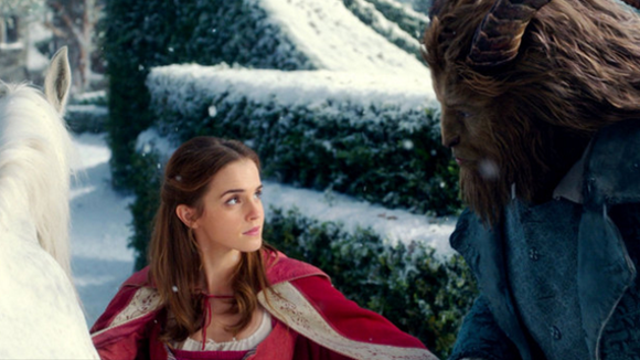 """Scene from """"Beauty and the Beast"""" showing two title characters looking at each other while outside."""