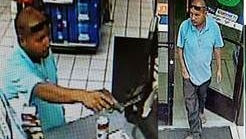A security camera shows the suspect in a store robbery.