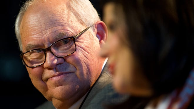 Phillip Fulmer looks over University of Tennessee Chancellor Beverly Davenport during a press conference on Friday, Dec. 1, 2017 after being named acting athletic director at the University of Tennessee.
