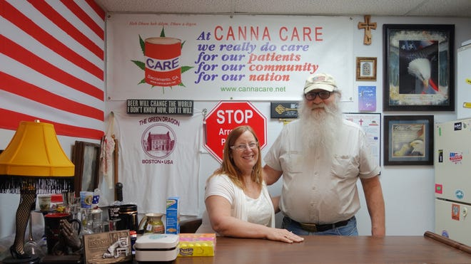Lanette and Bryan Davies own Canna Care dispensary in Sacramento.