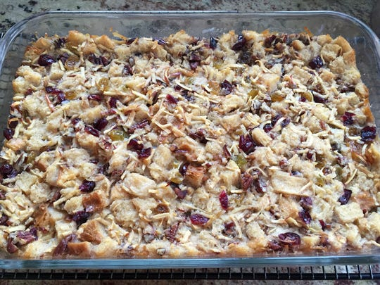 The bread pudding will puff up and appear set when it's done.