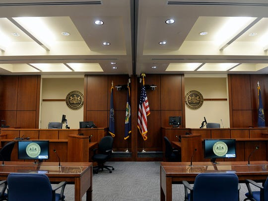 This is a courtroom on the fifth floor of the York County Judicial Center.