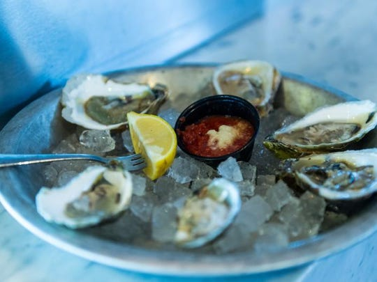 A sample of the six oysters currently at Ropewalk Ocean City.