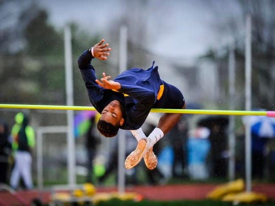 Franklin's Marlon Boston competes in the high jump during the Raider Relays on Saturday at Hillsborough.