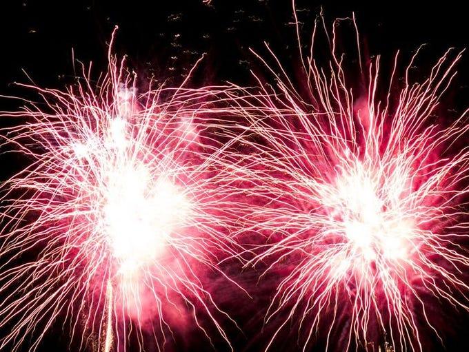 Fireworks light up the night sky on Sunday, July 3