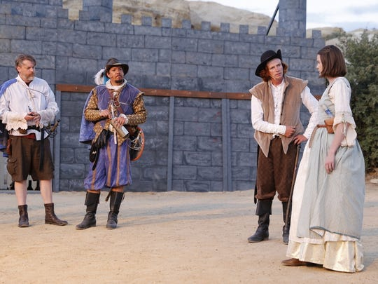 "Jeremy Orr, left, Mark Burnham, Charles Dobey and Lauren Harris are featured in a scene from the Theater Ensemble Arts presentation of ""The Three Musketeers"" continuing through Saturday at the Lions Wilderness Park Amphitheater."