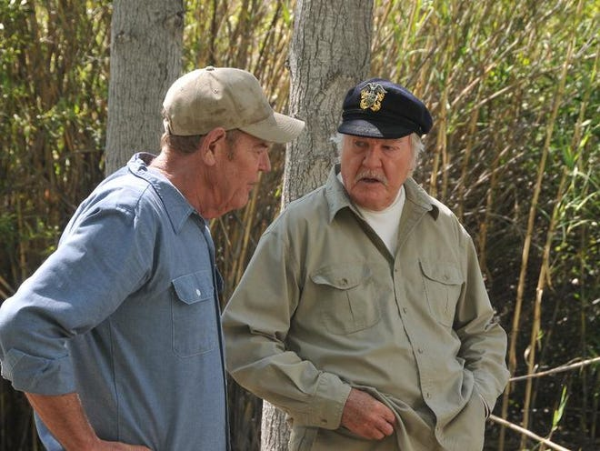 """James Best (right) and Rick Hurst, in a scene during the shooting of """"Return of the Killer Shrews."""" Best, who grew up in Corydon, and Hurst were fellow cast members in """"The Dukes of Hazzard"""" TV series."""