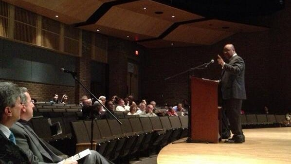 """Rochester Board of Education President Van White at annual meeting. """"Don't give up,"""" he said"""