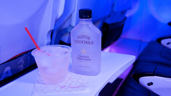 A cucumber vodka mojito cocktail available on the company's flights shown on Feb. 3, 2015.