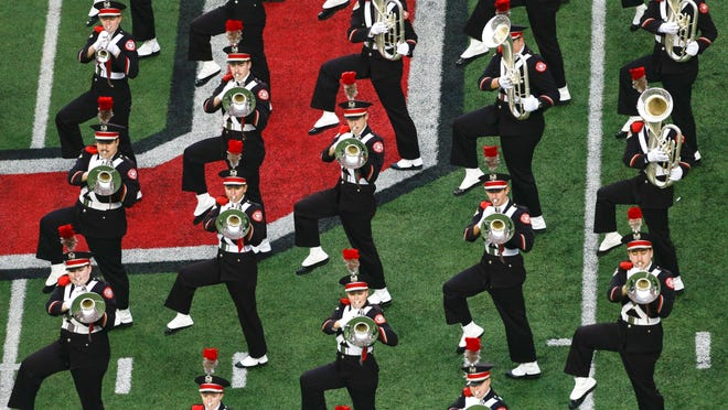 The Ohio State marching band performs at halftime of the game against Michigan on Nov. 24, 2018.