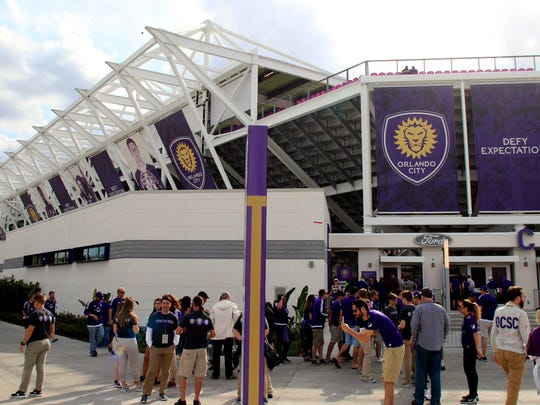 An image of the north east side of the stadium before an MLS soccer match between Orlando City FC and the New York City FC at Orlando City Stadium.