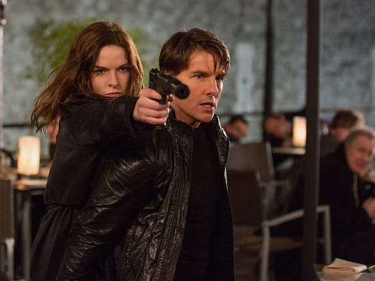 """""""Mission: Impossible Rogue Nation"""" (July 31), stars Tom Cruise, right, and Rebecca Ferguson."""
