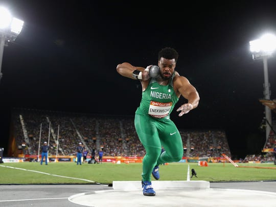 Chukwuebuka Enekwechi of Nigeria  competes in the Men's