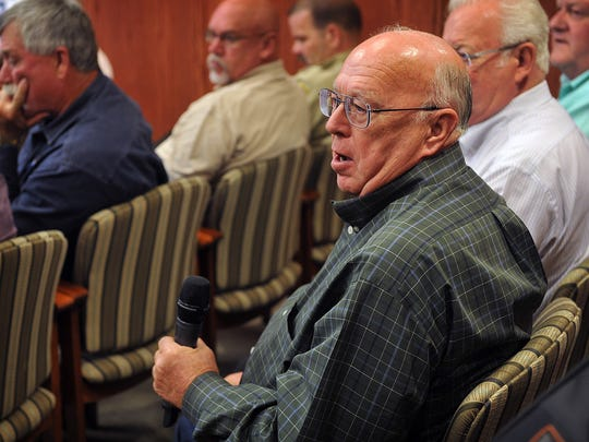 Danny Cravens asksa question about the proposed new jail construction during a public hearing Monday in the Wichita County Commissioners Court. The hearing was to help educate the public on details of a $70 million bond proposal for building a new jail and law enforcement center.