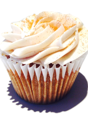 Sophi P Cake's drunken punk'in cupcake is a spiced pumpkin cake with a spiced rum cream cheese icing.