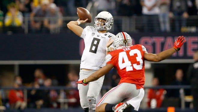 Oregon quarterback Marcus Mariota is projected as a top-five pick.