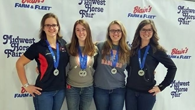 The UW-River Falls Horse Judging team, under the direction of animal science Assistant Professor Casie Bass, consisted of the following animal science-equine majors: Johanna Etlicher of Colgate; Vicki Payne of Plymouth; Becky Lyons of Madison; and Kayla Oelhafen of Allenton.