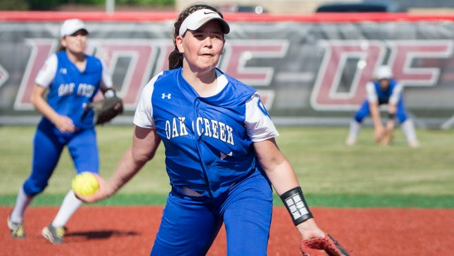 Becca Oleniczak pitches for Oak Creek against Kenosha Bradford in a  sectional final. Oak Creek won, 7-2.