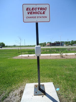 An electric vehicle charging station at a Kwik Trip in Fond du Lac.