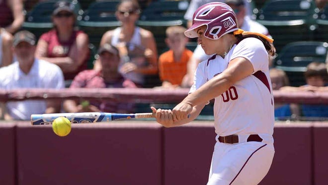 FSU's Celeste Gomez takes a cut in the Seminoles' 2-1 victory over USF in Sunday's Tallahassee Region final.