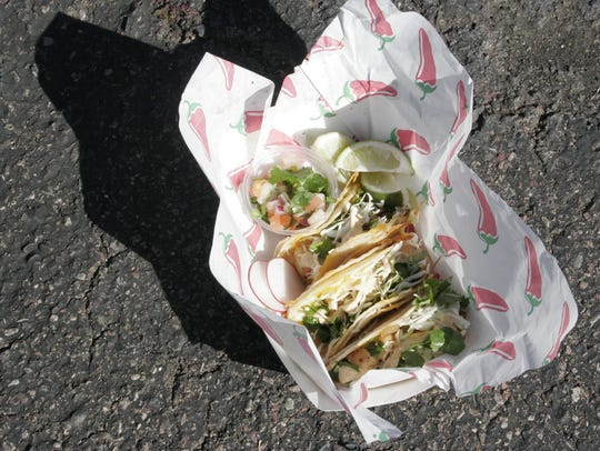 The shrimp street tacos from Shrimp Viche Man at the