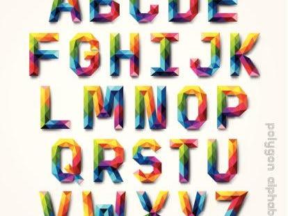 Polygon alphabet colorful font style.