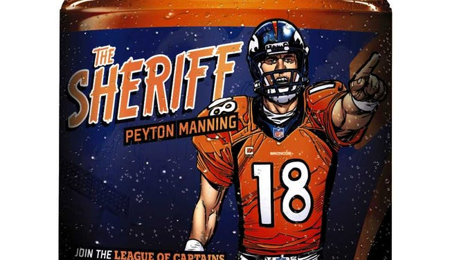 """Peyton Manning has joined """"The League of Captains"""" Gatorade comic. He also gets his own limited time Gatorade bottle, available in stores now."""