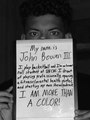 UNCW basketball player John Bowen took part in a social media challenge which showed examples of how individuals are more than just a color.