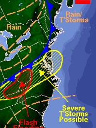 A severe thunderstorm warning is issued for parts of New Jersey.