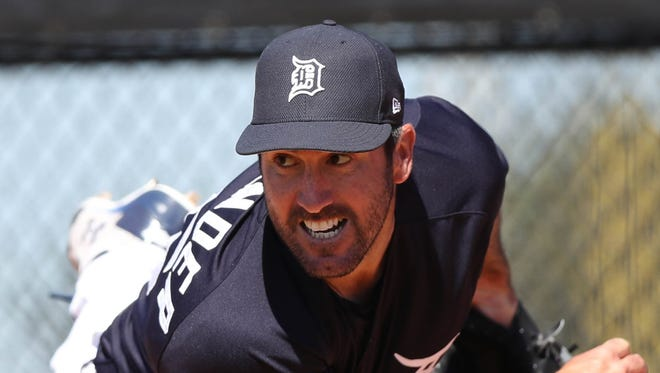 Tigers pitcher Justin Verlander throws during spring training on Thursday, Feb. 16, 2017 at Publix Field at Joker Marchant Stadium in Lakeland, Fla.