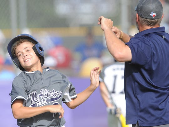 San Antonio McAllister Park's Garrett Ticer celebrates