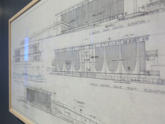 "An original elevation sketch of the Coachella Valley Savings and Loan building is included in the new exhibit ""An Eloquent Modernist: E. Stewart Williams, Architect"" at the Palm Springs Art Museum Architecture and Design Center."