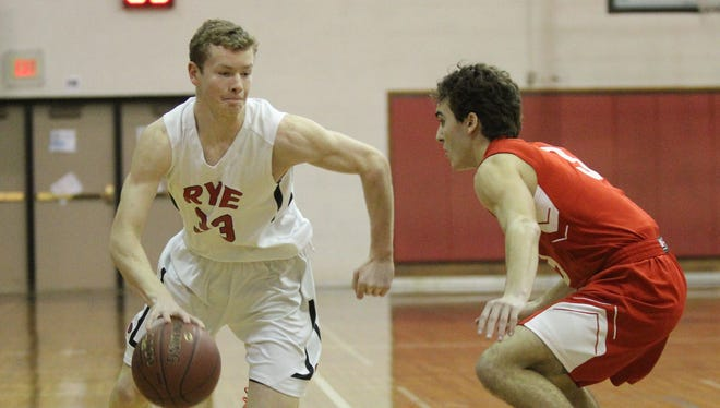 Rye's Michael Carty (33) drives against Tappan Zee's Matt McGivney (3) during their 60-54 win in boys basketball at Rye High School on Tuesday, February 7, 2017.