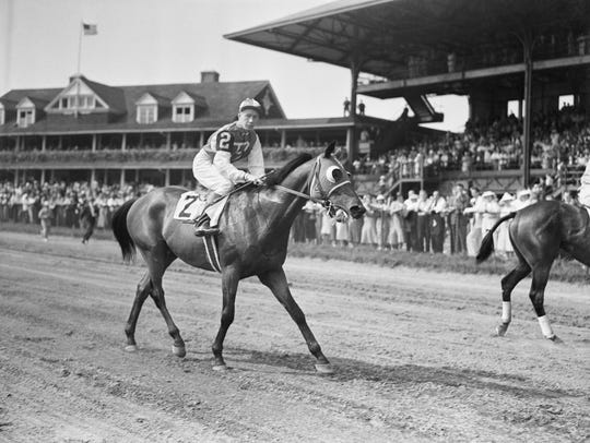 """John """"Red"""" Pollard on Seabiscuit, at the Yonkers Handicap"""