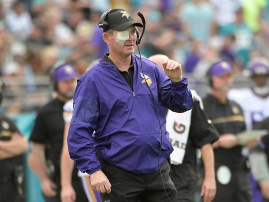Minnesota Vikings head coach Mike Zimmer directs his team while wearing a patch over his right eye because of a detached retina during the first half of an NFL football game against the Jacksonville Jaguars, Sunday, Dec. 11, 2016, in Jacksonville, Fla.