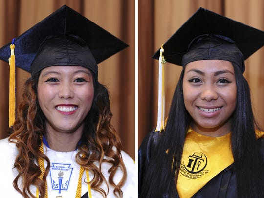 Tiyan High School Class of 2015 valedictorian Annie Fay Camacho, left, and salutatorian Camerine Ignacio, right, pose for photos before the school's commencement exercise at the Sheraton Laguna Guam Resort in Tamuning on June 11.