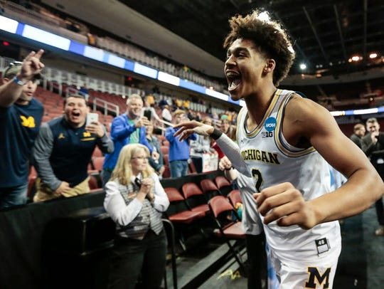 March 17, 2018 – U-M vs. Houston: Jordan Poole celebrates