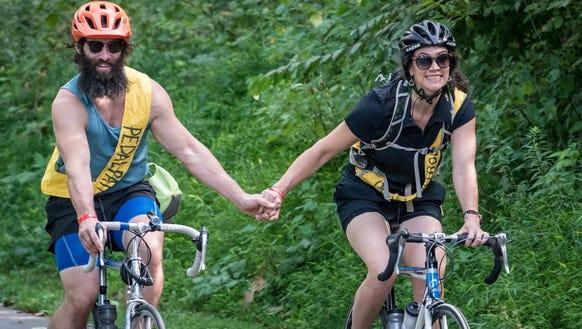 Shona and Steven McHone take a romantic bike ride.