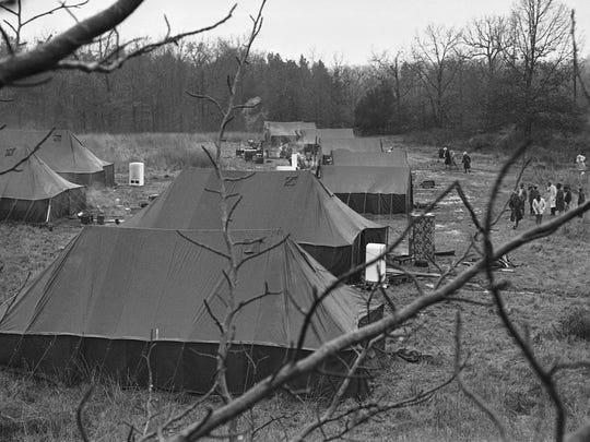 This is an overall view of Tent City, where nine African-American families moved after being evicted from their tenant farms in Fayette County, Tenn., in 1960.