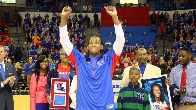 Speedy Smith reacts to cheers from the crowd last March during Louisiana Tech's senior night. Smith is headed to play in the NBA D-League.