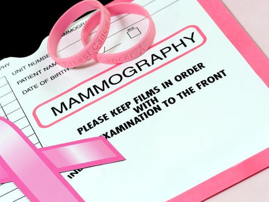 Mammography patient record with breast cancer awareness logo