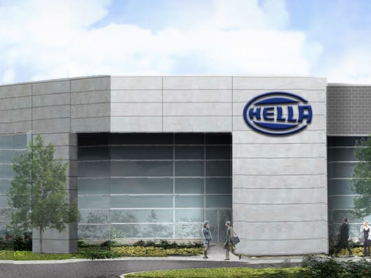 An artist's rendering of the main entrance at the Hella headquarters under construction on Technology Drive in Northville Township.