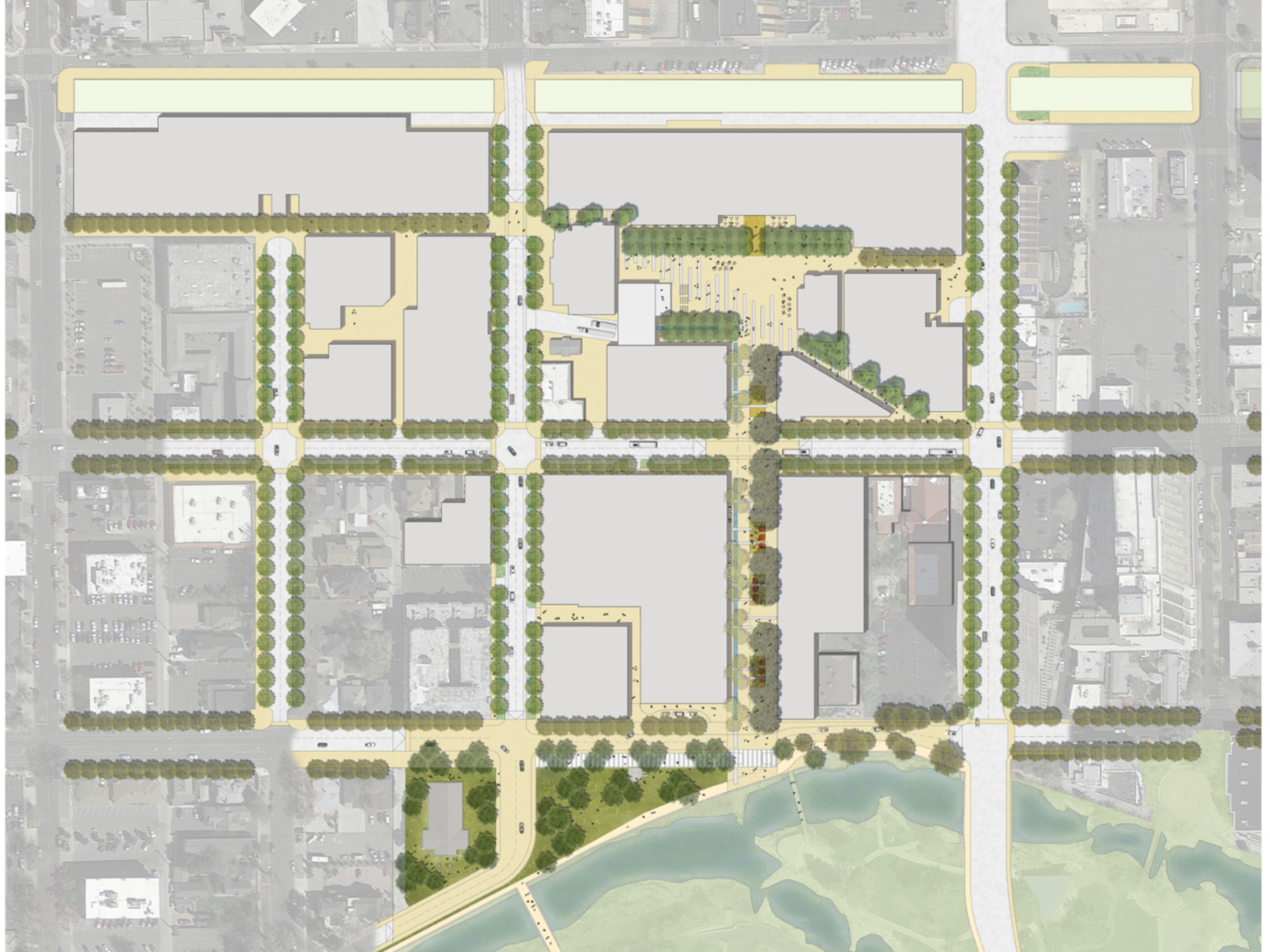 Aerial render of the complete street and green space and park concept for West 2nd District. Click to enlarge.