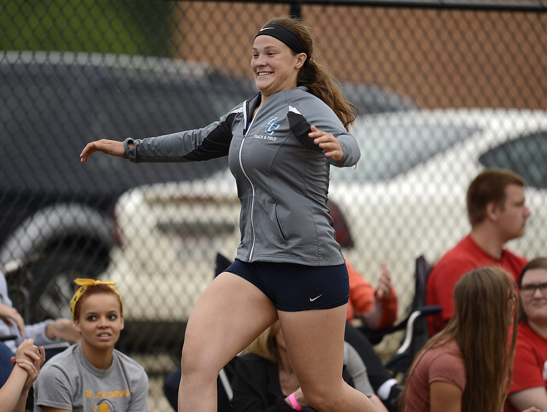 Little Chute's Tess Keyzers celebrates after winning the Division 2 shot put during Friday's WIAA state track and field meet at Veterans Memorial Stadium Complex in La Crosse.