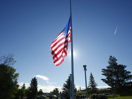 The U.S. Flag is raised during Flag Day ceremonies