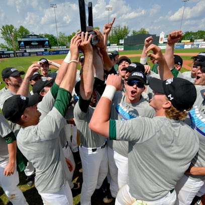 Binghamton University's baseball team celebrates it's America East Championship-clinching win on the field at Edward A. LeLacheur Park in Lowell, Mass, on Saturday, May 28, 2016.