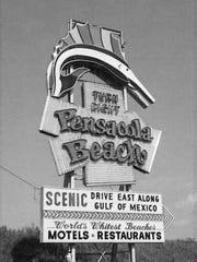 Pensacola Beach landmark entrance sign at Gulf Breeze.