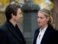 Jon Tenney, left, plays Sean King and Rebecca Romijn plays Michelle Maxwell in TNT's 'King & Maxwell.'