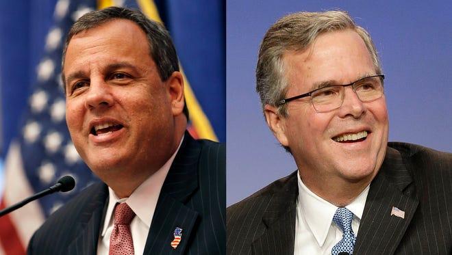 New Jersey Gov. Chris Christie and former Florida governor Jeb Bush.