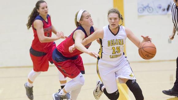 Delone's Elise Knobloch, right, runs down the court